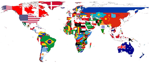 Flags of the world map